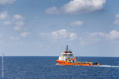 Offshore transportation and shipping business, Supply boat pickup tool and equipment from onshore and sent to offshore oil and gas processing platform.