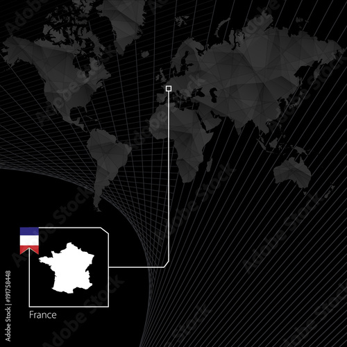 France on black world map map and flag of france buy this stock france on black world map map and flag of france gumiabroncs Gallery