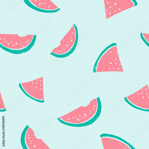 Cotton fabric Seamless watermelon pattern. Cute pastel light colors pink, blue, green. Grunge texture illustration, modern creative background.