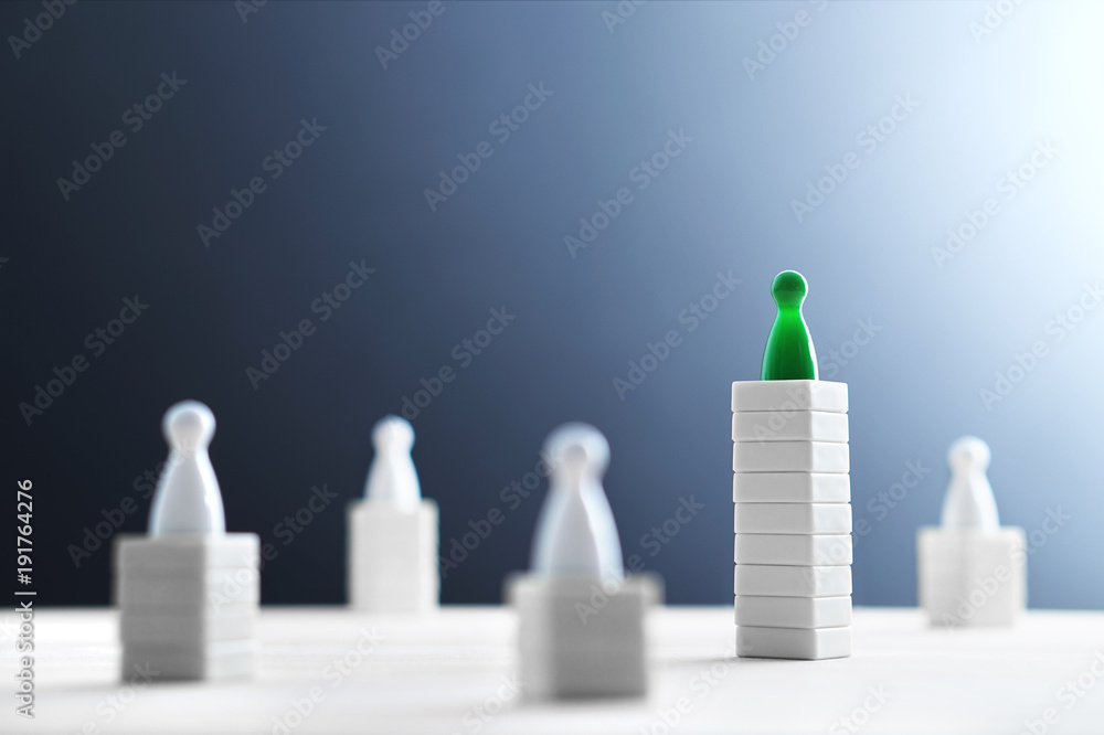 Fototapety, obrazy: Hierarchy, power, management and leadership concept. Being unique and the best. Dominance, victory and winning challenge. Beat competitors. One different on better, higher level. Negative copy space.
