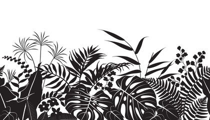 Tropical Plants Silhouette Pattern