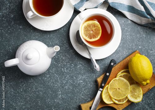 Staande foto Thee Cup of tea with lemon, top view