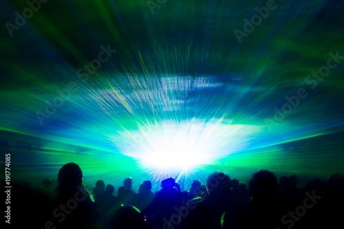 Colorful Laser Show Nightlife Hypnosis Light Tunnel People Crowd