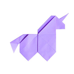 Handmade ultraviolet trendy geometrical polygonal paper origami unicorn on white background isolated