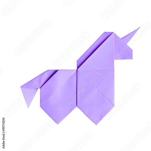 Handmade ultraviolet trendy geometrical polygonal paper origami unicorn on white Wallpaper Mural