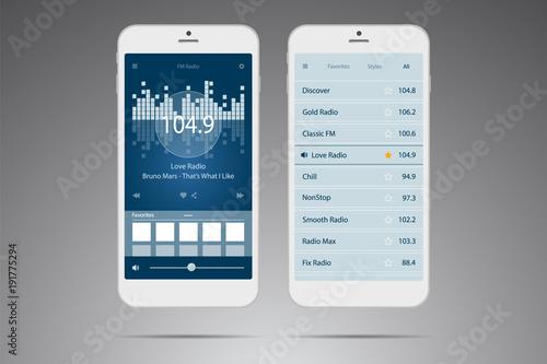 User interface  Mobile application  Radio online  Music