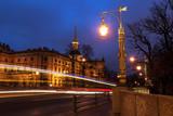 Fototapeta Big Ben - Mikhailovsky castle from garden bridge at nightfall, St. Petersburg, Russia