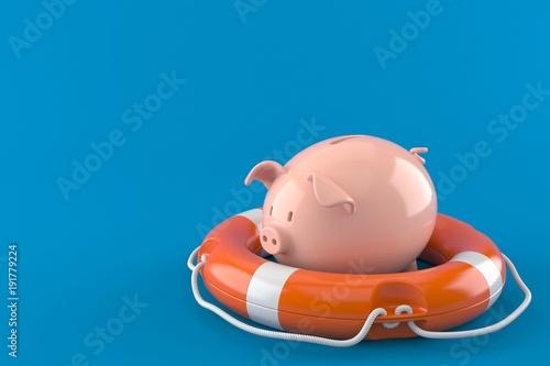 Fototapeta Piggy bank with life buoy obraz