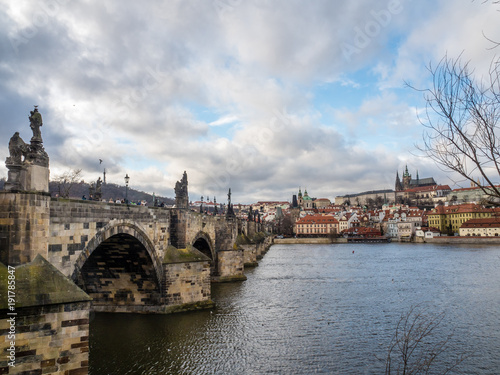 Photo Stands Prague View of Charles Bridge, Prague Castle with Saint Vitus Cathedral.