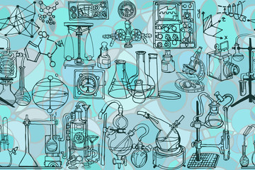 Vector seamless pattern with sketch elements related to science or education. Physics or chemistry abstract background featuring decorative or vintage laboratory hardware and diagrams. Hand drawn.