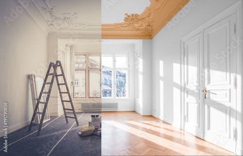 Leinwand Poster renovation concept - room before and after renovation