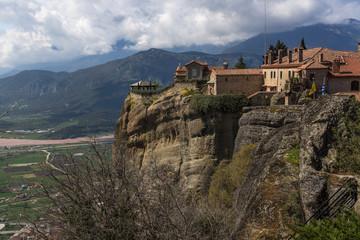 Fototapeta na wymiar Beautiful scenic view of orthodox monastery in the Greece mountains, Meteora