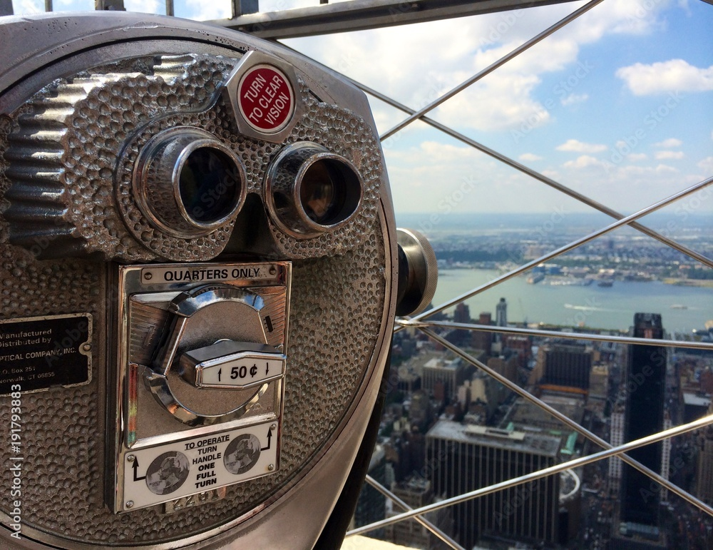 Fototapeta New York, Skyline, ausblick, Fernrohr, Empire State Building