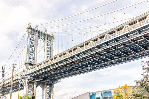 Photo  Closeup view of under Manhattan Bridge outside exterior outdoors in NYC New York