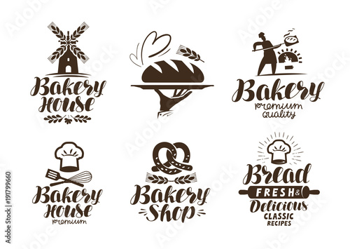 Fototapeta Bakery, bakehouse label or logo