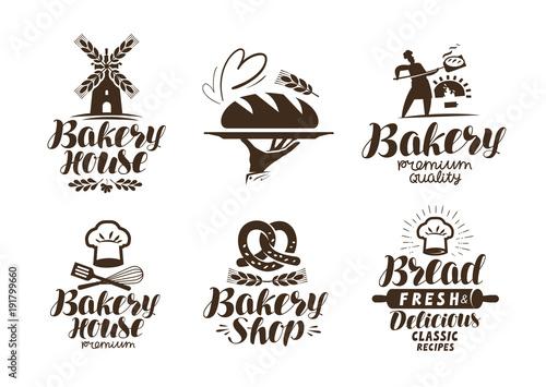 Carta da parati Bakery, bakehouse label or logo