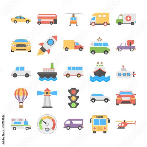 Garden Poster Cartoon cars Transport Vector Icons Set