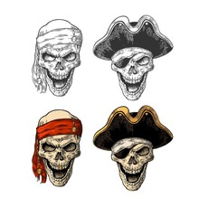 Skull In Pirate With Clothes E...
