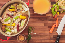 Overhead View Of Making Homemade Chicken Soup Stock