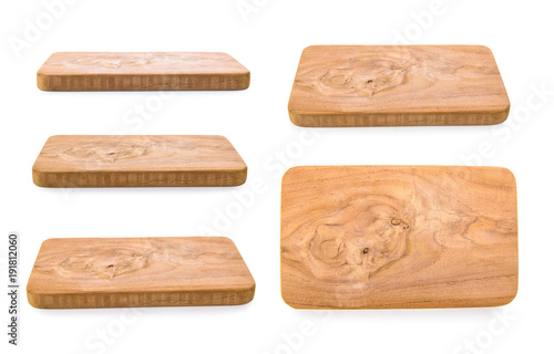 Foto  Chopping board on white background