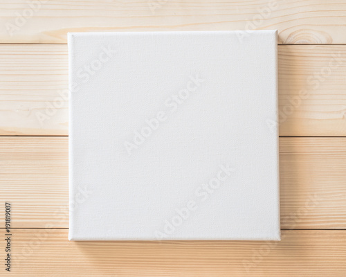 White Blank Canvas Mockup Square Size On Wood Wall For Arts Painting