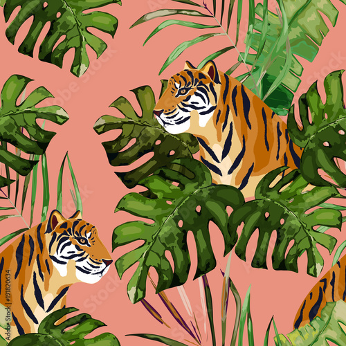 obraz lub plakat Summer seamless pattern. Tropical print with tiger and palm leaves. Vector illustration