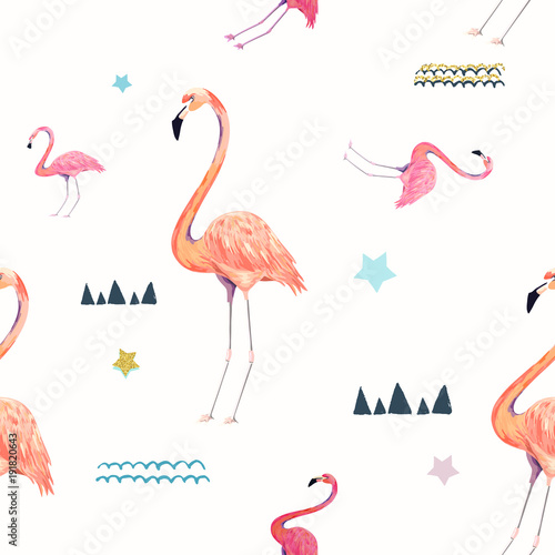 Canvas Prints Flamingo Bird Abstract seamless pattern with flamingo. Summer tropical design. Hand drawn vector illustration