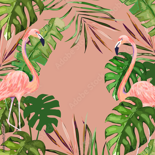 Summer banner with tropical leaves and flamingo jungle background summer banner with tropical leaves and flamingo jungle background exotic floral invitation vector stopboris Images