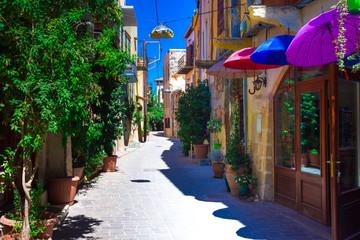 Fototapeta Street in the old town of Chania, Crete, Greece