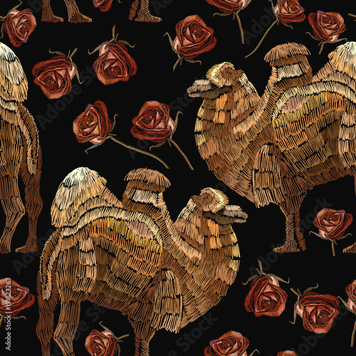 embroidery-camels-and-roses-seamless-pattern-portrait-of-beautiful-camel-and-red-roses-template-for-fashion-clothes-textiles-t-shirt-design