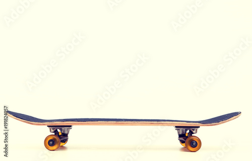 skateboard in front of bright background
