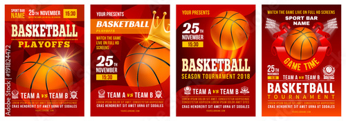 Basketball Poster Set Canvas Print