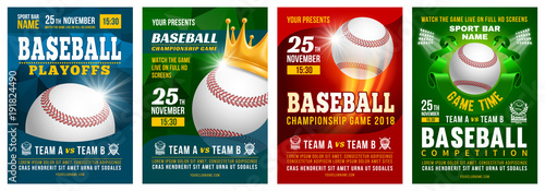 Baseball Poster Set Wallpaper Mural