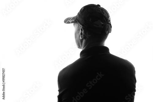 Fotografie, Tablou  Male person silhouette,back lit over white