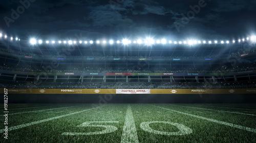 Fototapeta  empty football stadium in light rays at night 3d rendering
