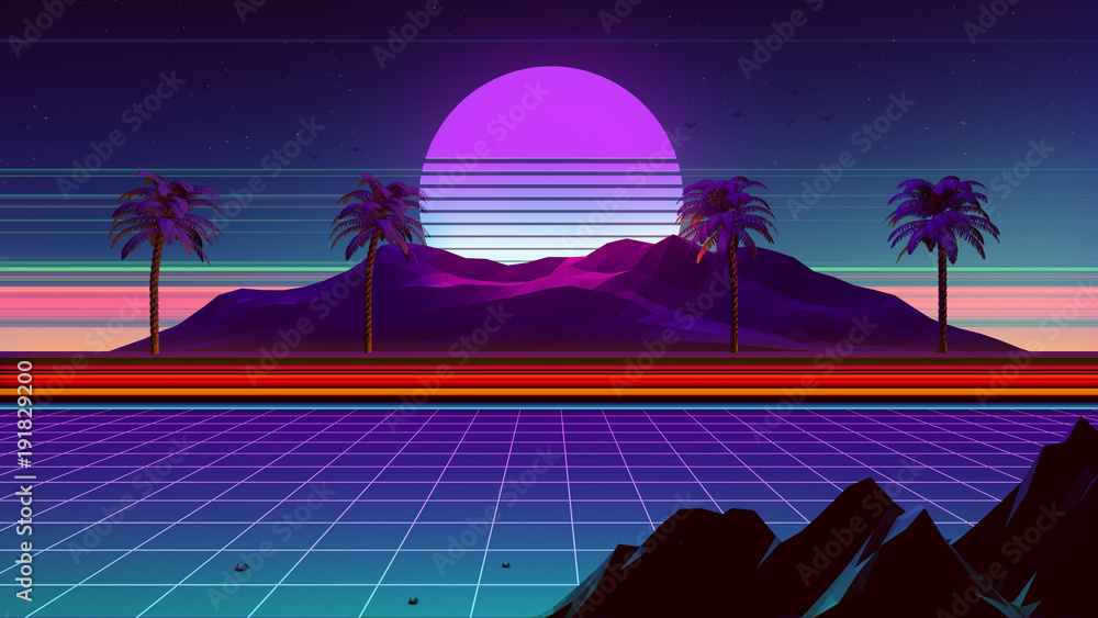 Fototapety, obrazy: 80s Synthwave And Retrowave Background 3D Illustration
