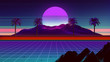 canvas print picture - 80s Synthwave And Retrowave Background 3D Illustration