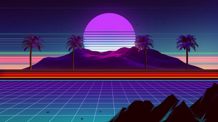 80s Synthwave And Retrowave Background 3D Illustration