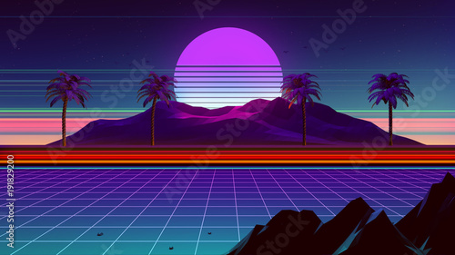 Photo  80s Synthwave And Retrowave Background 3D Illustration