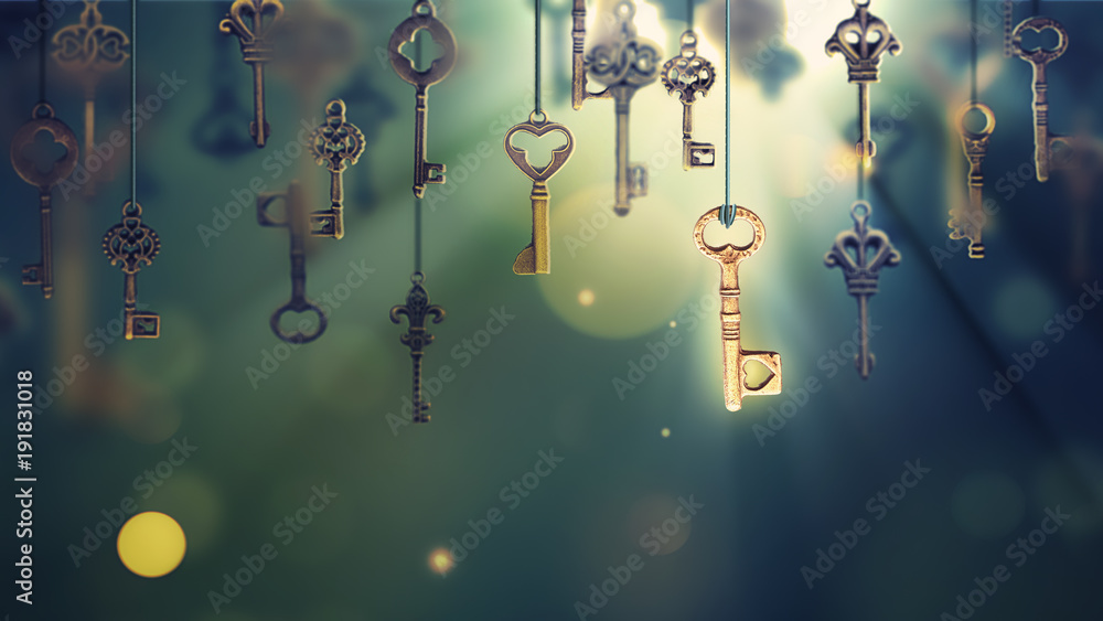 Fototapety, obrazy: onceptual image with hanging keys