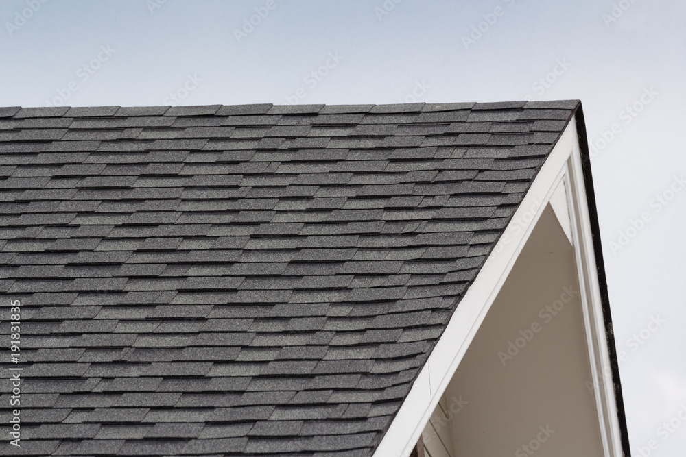 Fototapety, obrazy: grey and black roof shingles of house