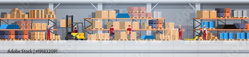 Fototapeta Warehouse Interior Box On Rack And People Working. Logistic Delivery Service Concept Horizontal Banner Flat Vector Illustration obraz