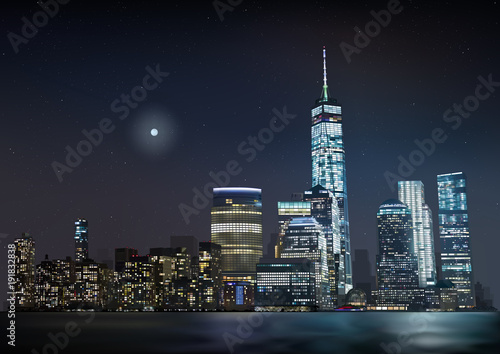 Night City Skyline - Detailed Background Illustration with Urban Scenery, Vector