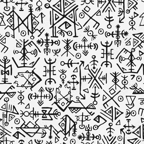 Fotomural  Futhark norse islandic and viking symbol seamless pattern