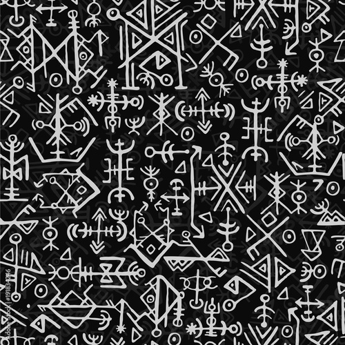 Futhark norse islandic and viking symbol seamless pattern Wallpaper Mural