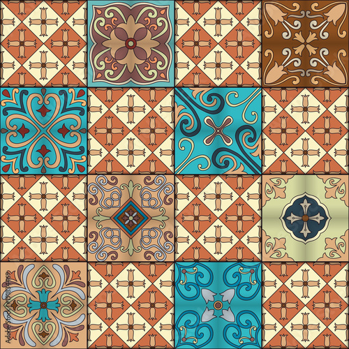 La pose en embrasure Tuiles Marocaines Seamless pattern with portuguese tiles in talavera style. Azulejo, moroccan, mexican ornaments.