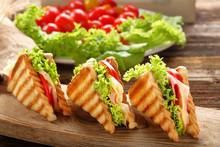 Fresh Sandwiches On Wooden Bac...