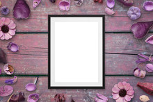 Picture Frame On Pink Wooden D...