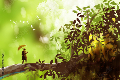 Cuadros en Lienzo a man holding umbrella and standing on the giant tree, fantasy scenery, digital art style, illustration painting