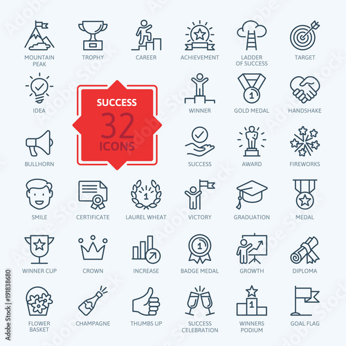 Fotografie, Obraz  Success, awards, achievment elements - minimal thin line web icon set
